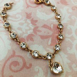 Jewelry - White Crystal, Rose Gold Heart Bracelet